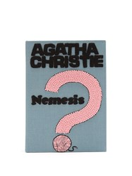 Olympia Le Tan Agatha Christie Nemesis Embroidered Book Clutch Grey