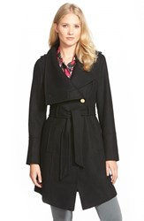 Women's Guess Belted Asymmetrical Wool Blend Trench Coat Black