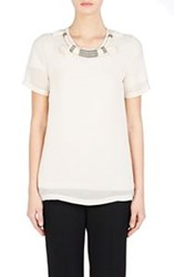 Lanvin Embellished Chiffon And Jersey Shirt White