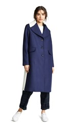 Paul Smith Long Collared Coat Navy With Cream Collar