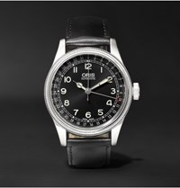Oris Big Crown Original Pointer Date 40Mm Stainless Steel And Leather Watch Black