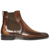 Berluti Burnished Leather Chelsea Boots Brown