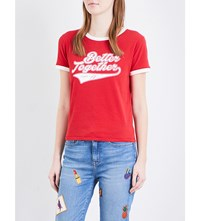 Tommy Hilfiger Gigi Hadid Ringer Cotton Jersey T Shirt Apple Red