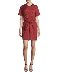 3.1 Phillip Lim Short Sleeve Striped Knotted Crepe Dress Poppy Black Poppy Blk