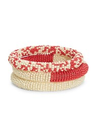 Catherine Stein Beaded Bangle Bracelets Red