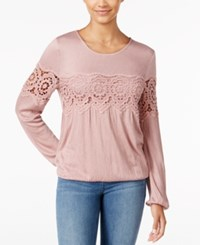 American Rag Crocheted Peasant Top Only At Macy's Pale Pink