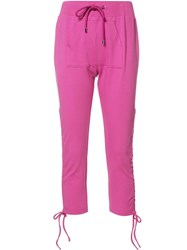 Moschino Cropped Drawstring Pull Trousers Pink Purple