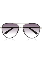 The Row Aviator Leather Trimmed Metal Sunglasses