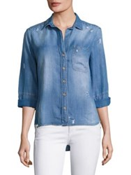 Bella Dahl Distressed Chambray Shirt Vintage Malibu Wash