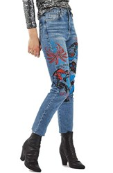 Topshop Women's Painted Straight Leg Jeans