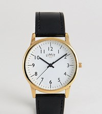 Limit Faux Leather Watch In Black Exclusive To Asos 38Mm