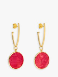 Lola Rose Textured Circle Drop Earrings Gold Plum Red