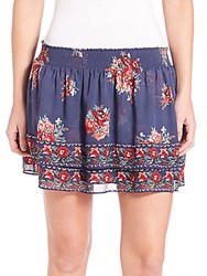 Joie Turnley Hacienda Floral Printed Skirt Blue Red Combo