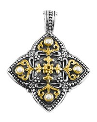 Konstantino Silver And 18K Pearl Clover Pendant Enhancer White