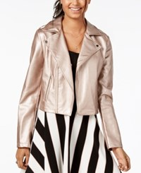 Material Girl Juniors' Faux Leather Moto Jacket Created For Macy's Rose Gold