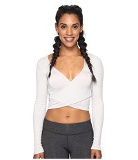 Alo Yoga Amelia Long Sleeve Crop Top Mist Women's Clothing Blue