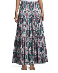 Double J Liberty Printed Peasant Skirt Green Pattern