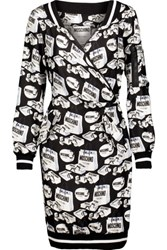 Moschino Wrap Effect Printed Silk Mini Dress Black