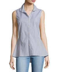 Derek Lam Striped Sleeveless Peplum Shirt Blue Pattern