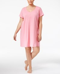 Charter Club Plus Size Printed Cotton Knit Sleepshirt Only At Macy's Pink Duo Dot