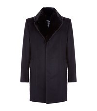 Zilli Mink Fur Collar Coat Male Navy