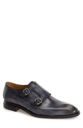 Oliver Sweeney 'Ghirri' Double Monk Strap Shoe Men Navy Leather