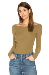 Gettingbacktosquareone Off The Shoulder Long Sleeve Top Army