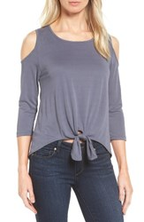 Bobeau Women's Cold Shoulder Tee Cement Grey