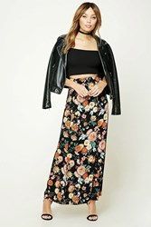 Forever 21 Floral Print Maxi Skirt Black Rust