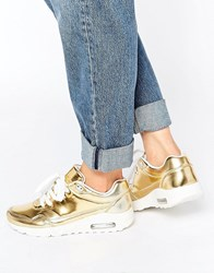Missguided Metallic Trainer Gold