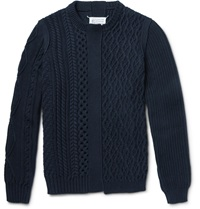 Maison Martin Margiela Patchwork Chunky Knit Cotton Crew Neck Sweater Blue