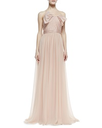 Notte By Marchesa Strapless Organza Bow Bodice Gown