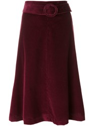 P.A.R.O.S.H. Pleated Midi Skirt Cotton S Pink Purple