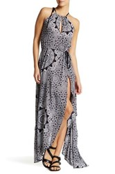 Red Carter High Halter Neck Maxi Print Dress Multi