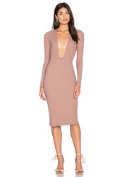 Nytt Long Sleeve Plunge Dress Taupe