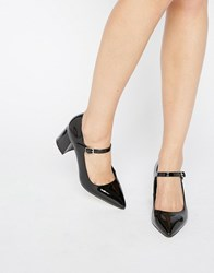 Office Mandy Mary Jane Point Mid Heeled Shoes Black Patent Pu