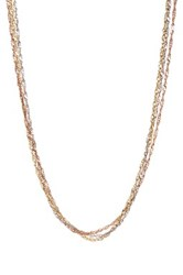 Candela 14K Tricolor Gold Triple Row Singapore Necklace Metallic