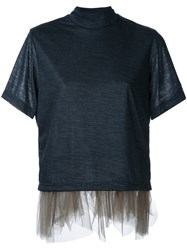 Kolor Tulle Trim T Shirt Black