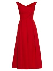 Preen Finella Satin Midi Dress Red