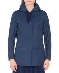 Akris Punto Hooded Water Repellant Parka Jacket Blue