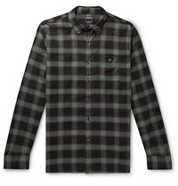 Todd Snyder Button Down Collar Checked Cotton Flannel Shirt Green
