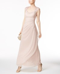 Xscape Evenings X By Lace Trim Ruched Gown Taupe