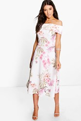 Boohoo Floral Oversized Bardot Midi Skater Dress Multi