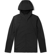 Arcteryx Veilance Dyadic Stretch Nylon And Merino Wool Blend Zip Up Hoodie Black