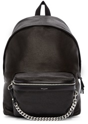 Saint Laurent Black Leather Curb Chain Backpack