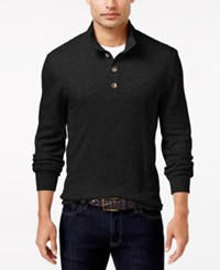 Club Room Men's Waffle Knit Thermal Mock Neck Shirt Only At Macy's Deep Black
