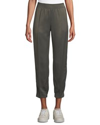 Agnona Tapered Leg Track Satin Ankle Pants W Side Stripes Gray