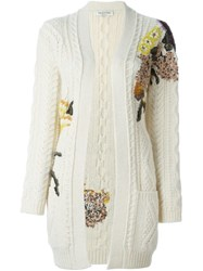 Valentino Floral Cable Knit Cardigan Nude And Neutrals