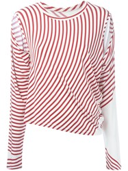 Maison Martin Margiela Mm6 Striped Cut Out T Shirt Red