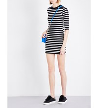 Moandco. Stripe Print Cotton Blend Dress Black And White